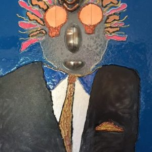 Suit Head with Exploding Thoughts by Michael Schaffer